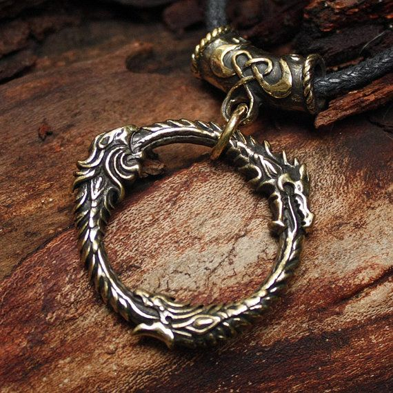 Bronze Ouroboros Gamer 3D Pendant Necklace by MAGICrebEL on Etsy, $40.99