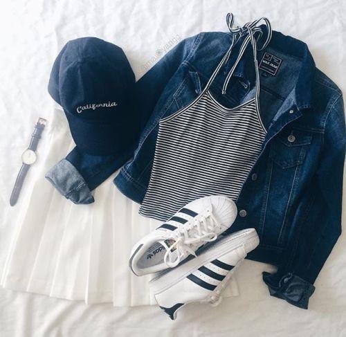 white + stripes + denim