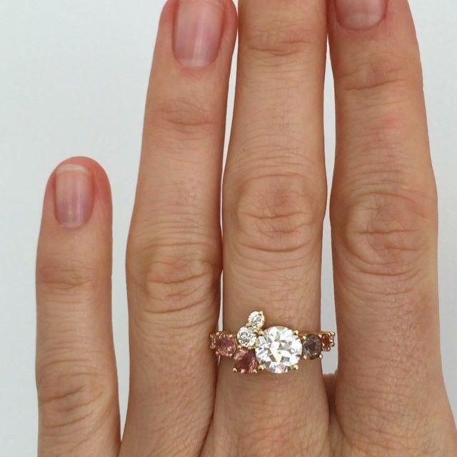 Custom stone cluster ring
