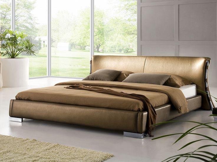 Nowoczesne łóżko ze skóry 160x200 cm ze stelażem stare złoto - PARIS