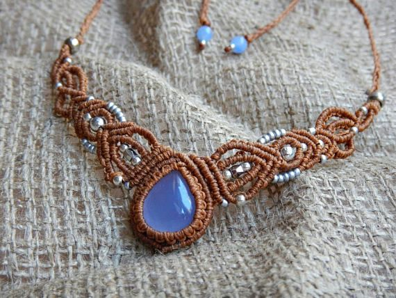 Hey, I found this really awesome Etsy listing at https://www.etsy.com/listing/534470659/macrame-necklace-with-blue-chalcedony