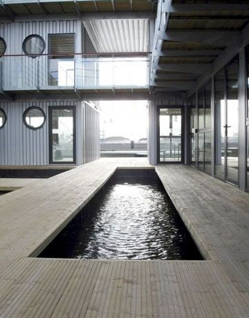 Shipping Container Homes - Cargo Container Houses - The Daily Green  Now, this is my idea fo an exercise, LAP pool. . .  iinside!