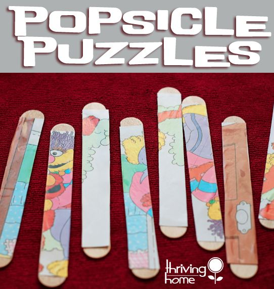Cheap and Easy Activity for a Toddler: Popsicle Stick Puzzles. Use a Christmas card to make it festive.
