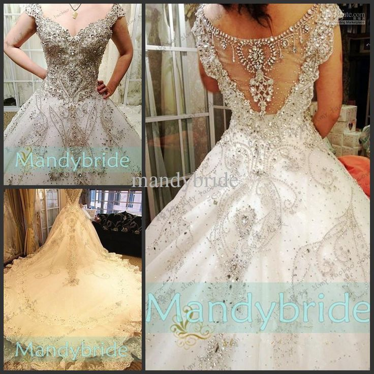 Sweetheart Swarovski crystals Appliques Cap sleeves A-Line Cathedral ...
