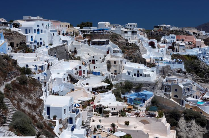 Wonderful view of City buildings and bay on Santorini