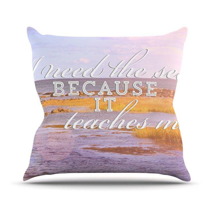 I Need The Sea by Rachel Burbee Typography Throw Pillow