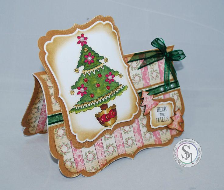 Sam Healey, Romany Christmas - Christmas Tree Stamp, Romany Xmas CD, Spectrum Noir markers; EB1, TN7, 8, CG2, DG3, JG6, DR1, 5, 7, GB8, 10, Core'dinations, Centura Pearl, Collall Glues - #crafterscompanion #Christmas