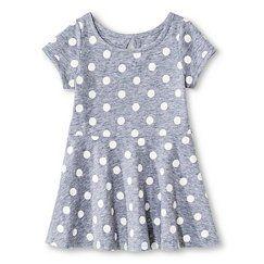 Baby Girls' Polka Dots Short Sleeve Knit Dress Gray - Circo™