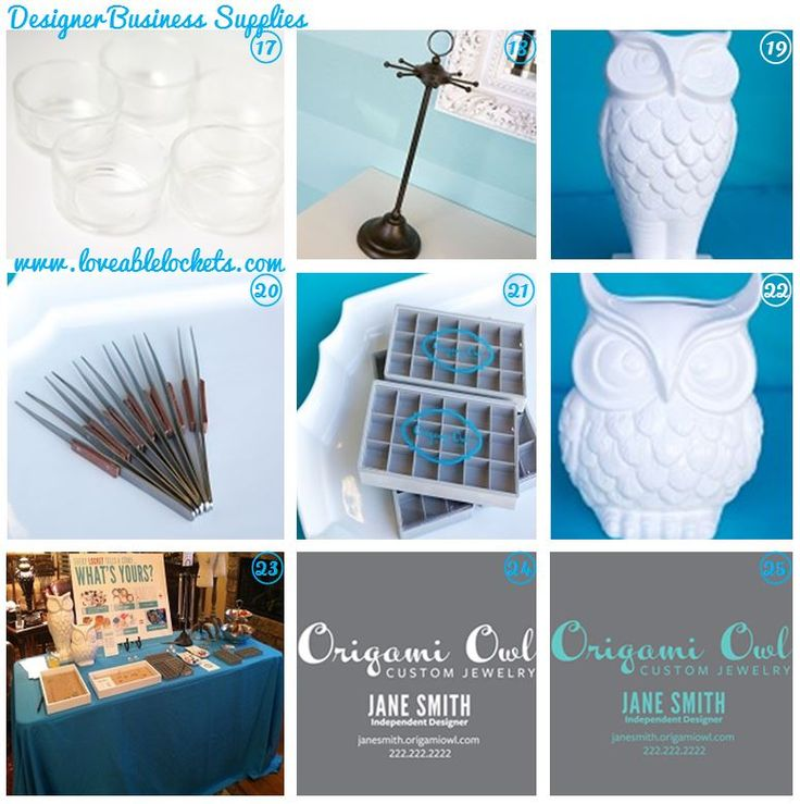 Business Supplies Available to Origami Owl Designers in their Back Office include:  17) $2.25 Glass Votives     18) $21.95 Jewelry Round Display    19) $22 Large Owl Display    20) $2 Charm Tweezer     21) $5 Charm Case     22) $18 Small Owl Display    23) $39.99 Table Cloth    24) $39.99 Car Decal 1    25)$39.99 Car Decal 2   Visit: www.melissadettmer.origamiowl.com