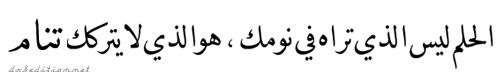 translation: A dream is not what you see in your sleep, it's what keeps from sleeping .