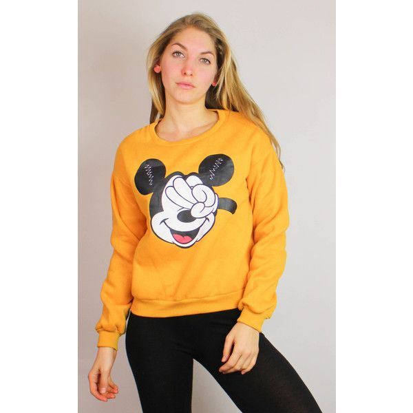 Re:dream Vintage Vintage Mickey Mouse Fleece Lined Crop Sweat Top... ($37) ❤ liked on Polyvore featuring tops, yellow, vintage crop top, mickey mouse top, yellow crop top, yellow long sleeve top and mustard top