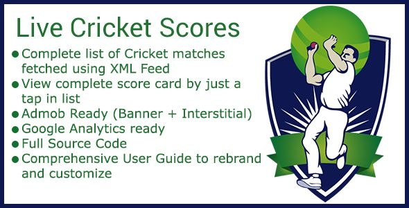Live Cricket Score Android App . Cricket on the go App fetches the live cricket scores from XML feed of Cric Info. It Displays the list of all live cricket matches around the world and you can get the full live scorecard of a cricket match with a TAP.