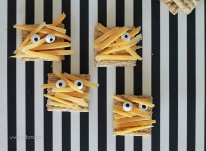 Try these adorable TRISCUIT Mummy Appetizers at your Halloween celebration.