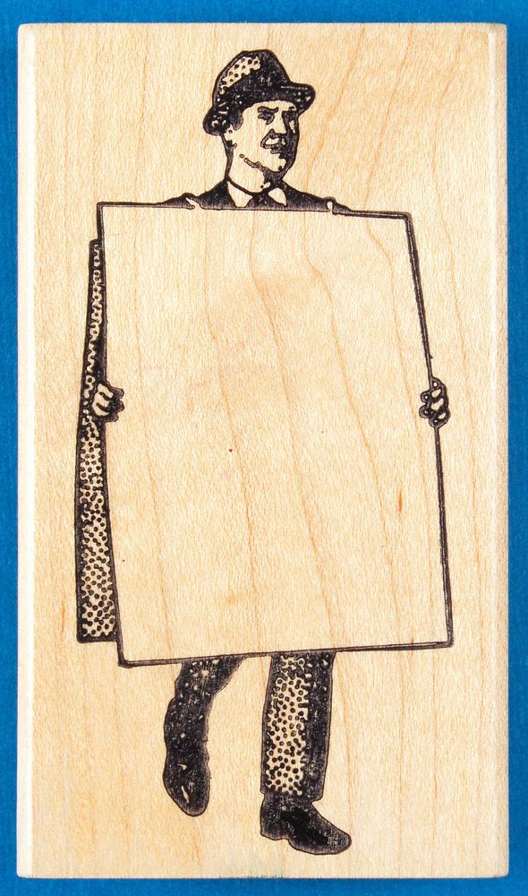 Man with Sandwich Board Rubber Stamp by Ken Brown - Blank Sign Frame  | eBay