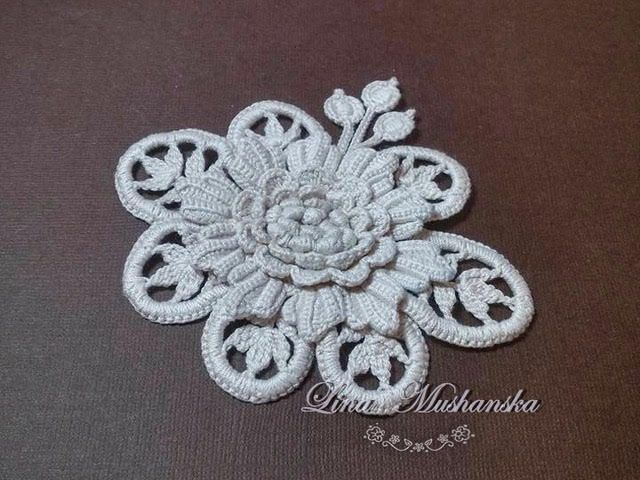 Irish Crochet Motif - Fantasy. Crochet Flower Motif Applique Pattern Irish