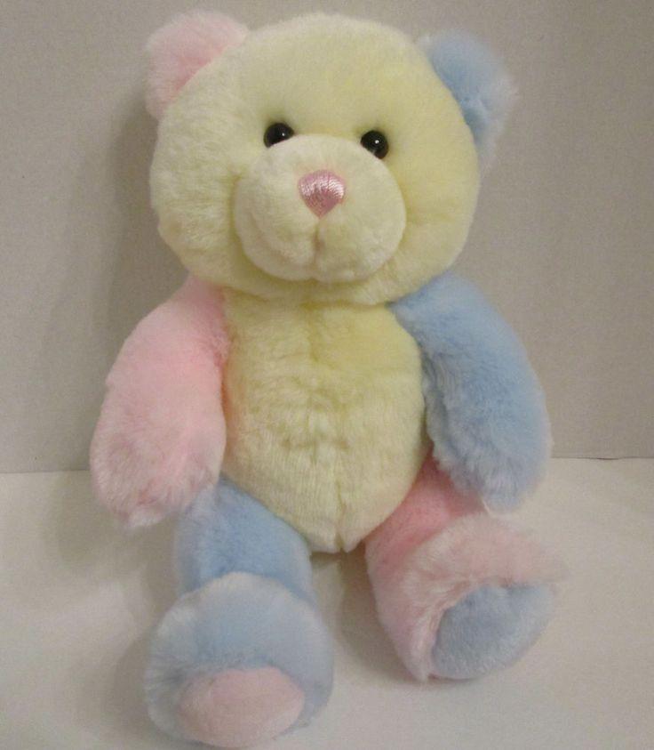 "Aurora Baby Pastel Teddy Bear Plush Stuffed Toy 10"" Thick Furry Blue Yellow Pink #Aurora #Easter"