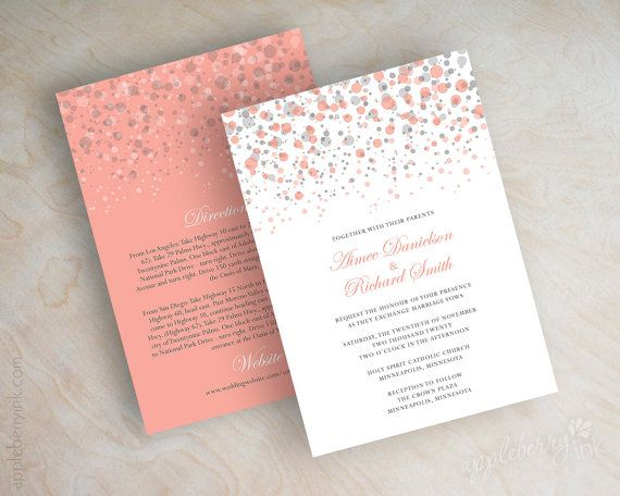 Coral And Gray Polka Dot Wedding Invitation, Modern, Confetti, Glitter Wedding  Invitation, Coral, Grey, Peach, Shimmer Invitations, Glitter