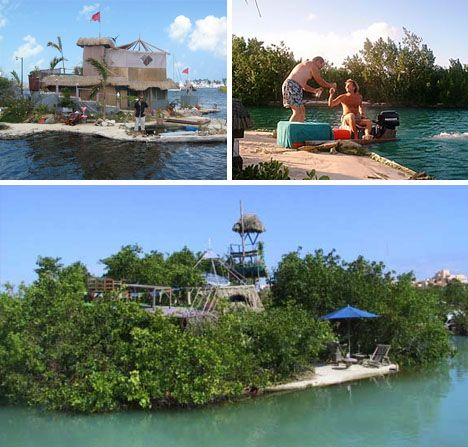 floating tropical private island made entirely from trash