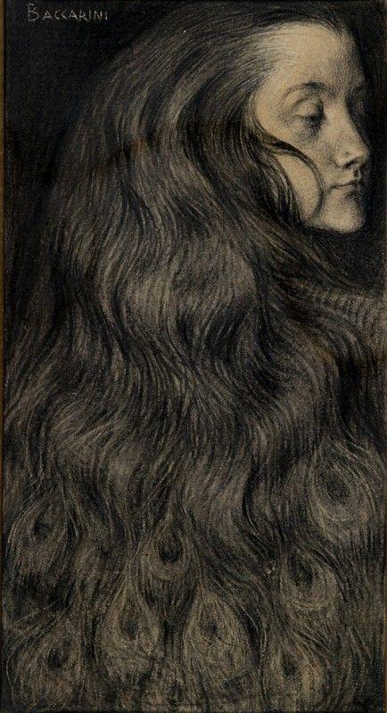 Domenico Baccarini, Pavonessa, 1903-1904, matita contè, carboncino e gessetto su carta colorata