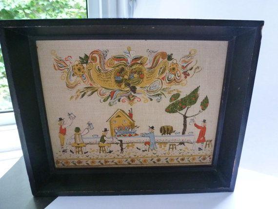 Vintage Folk Art Scandinavian Tapestry Design In Black Wood Frame Beautiful Tapestry in Wood Frame