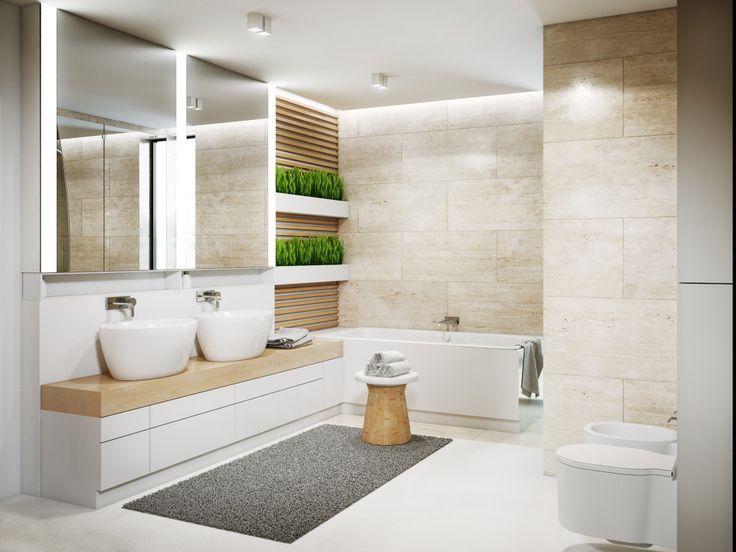 Żywica epoksydowa na podłodze w łazience zestawiona z ciepłym odcieniem płytki trawertynowej