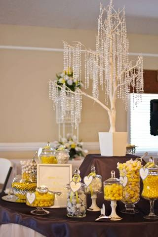 Yellow and Gray Candy Buffet for my sister's wedding    COPYRIGHTED UNDER LAW