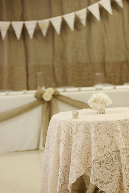 I really love this idea, as long as I can do it for the right price. lace over burlap, wedding party table or cake table?