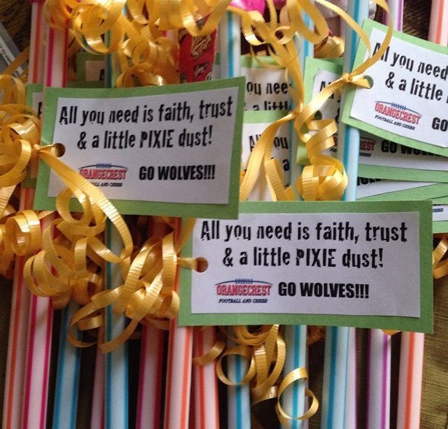 Pep rally candy bags with slogans I made for my sons' youth football team.
