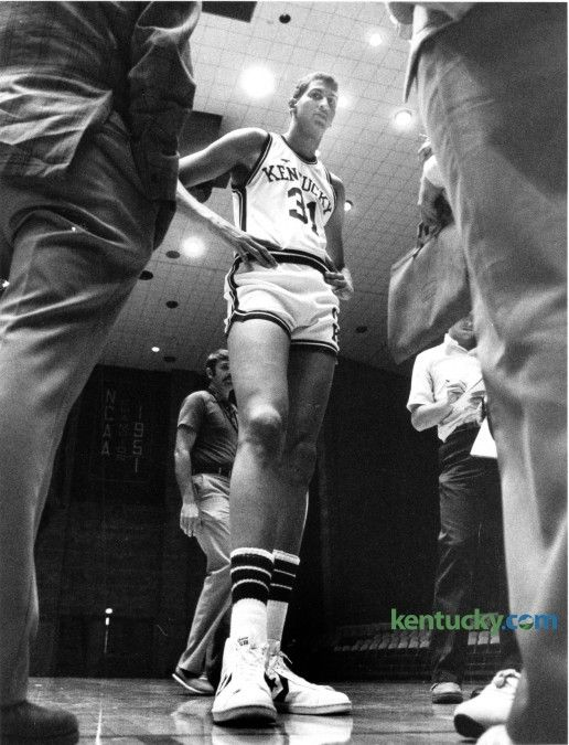University of Kentucky's 7 foot one inch Sam Bowie answered reporters questions at media day on October 15, 1982, in Memorial Coliseum. Bowie ended up taking a medical red shirt for the 82-83 season due to a stress fracture in his left tibia that was slow to heal. Kentucky holds it's annual media day later today for this year's men's basketball team.  Photo by Charles Bertram | Staff