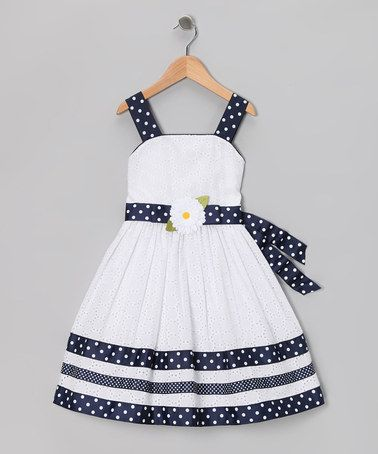 Take a look at this White & Navy Eyelet Dress - Girls Plus by Sweet Heart Rose on #zulily today!