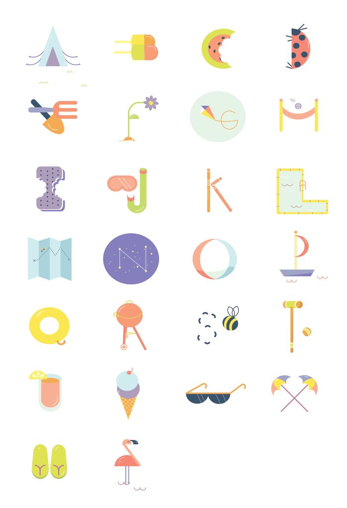Anne Lee Designs. Summer Alphabet. Personal project inspired by typography & sunshine.