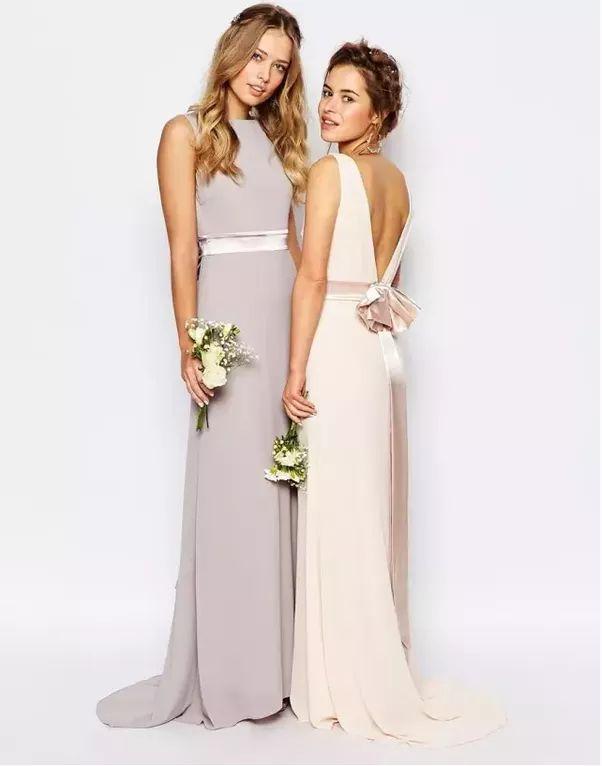 Beaded Strap Pleated Split Front Long Chiffon Bridesmaid Dress