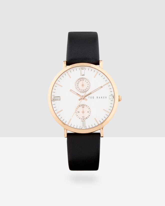 Black leather strap watch - Black | Gifts | Ted Baker