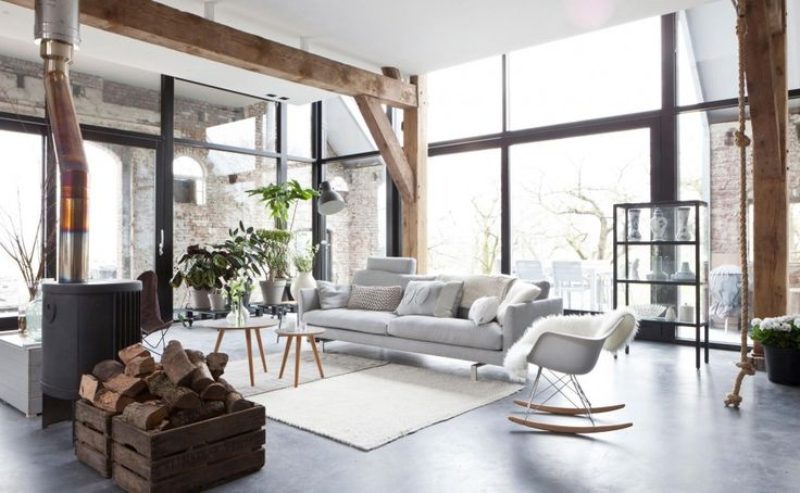 Industrial style with nordic flair climbing rope on the right access to mezzanine maybe - Huis mezzanine ...