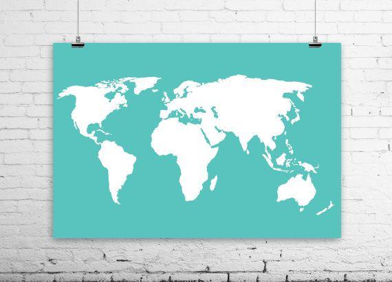 "World Map Poster - Sizes from 4x6"" to 36x48"" - Large World Map - Travel Art Print - Aqua and White Art - dorm, Travel nursery decor - 021"