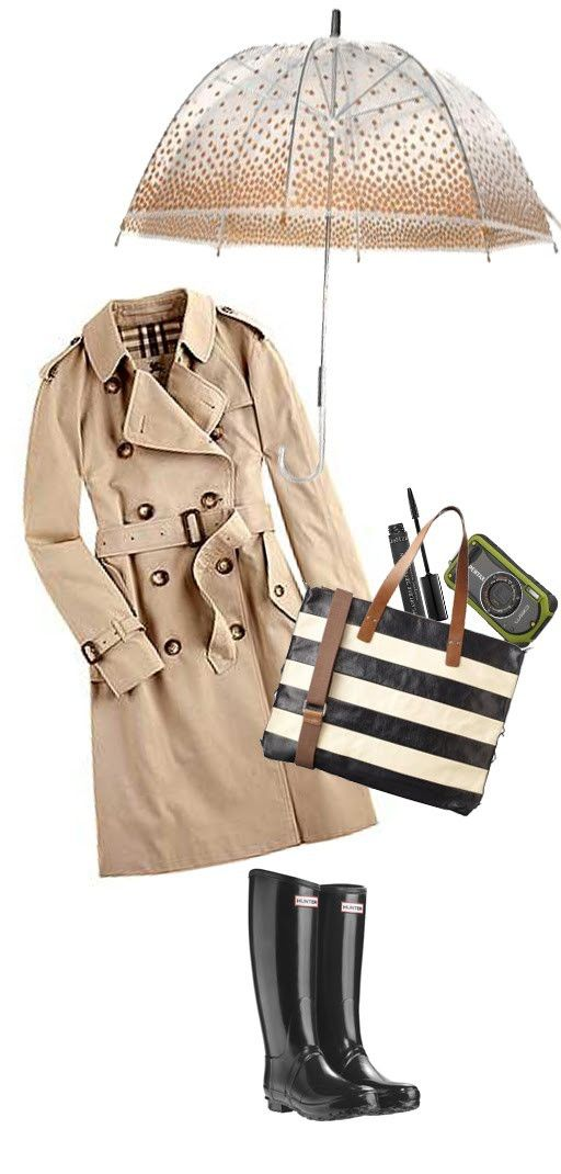 Rainy-Day Outfit.: Rain Outfits, Style, Rainyday, Hunters Boots, Burberry Trench, Rainy Day Outfits, Rain Gears, Trench Coats, Rainy Days
