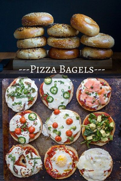 """{2/9/16} — Pizza Bagels - """"Y'all, I haven't been this excited about a day since my birthday. It's National Bagel Day AND National Pizza Day. Normally I don't follow these made up days, but pretty sure today was invented just for me. And so I made for you, pizza bagels! All sorts of fun toppings from lox to Shakshuka (!) to jalapenos (because I live in Texas). Yay!"""" : What Jew Wanna Eat"""