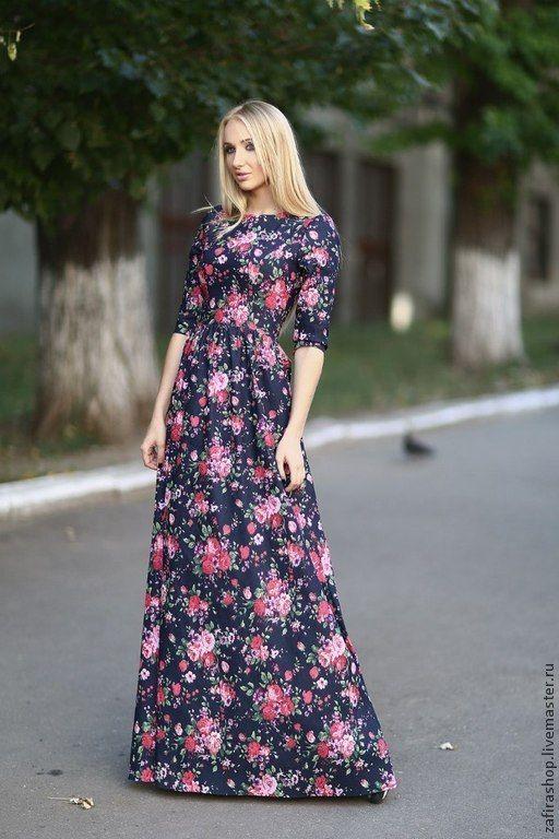 Джинсовое платье в пол - разноцветный,цветочный,длинное платье,джинсовое платье