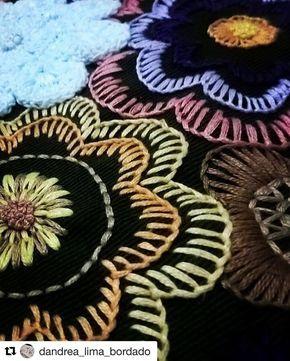 """386 curtidas, 2 comentários - Babi Bernardes (@bordados_e_bordadeiras) no Instagram: """"@dandrea_lima_bordado #needlework #handembroidery #bordado #broderie #embroidery #ricamo"""""""