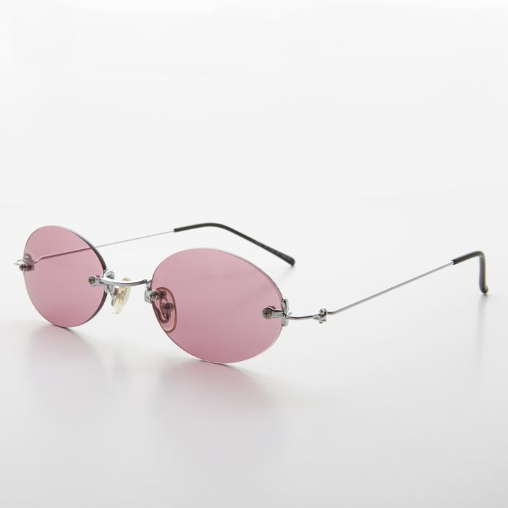 90s Vintage Rimless Oval Colored Lens Sunglass NOS -PIPER