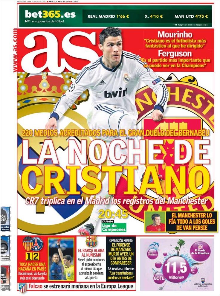 Los Titulares y Portadas de Noticias Destacadas Españolas del 13 de Febrero de 2013 del Diario Deportivo AS ¿Que le parecio esta Portada de este Diario Español?
