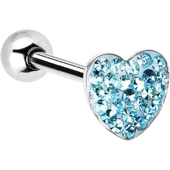 $8.99 #piercing Dome Aqua Heart Gem Barbell Tongue Ring