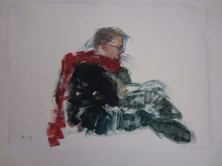 Young man with a scarf, oil study by STarnanen 2013