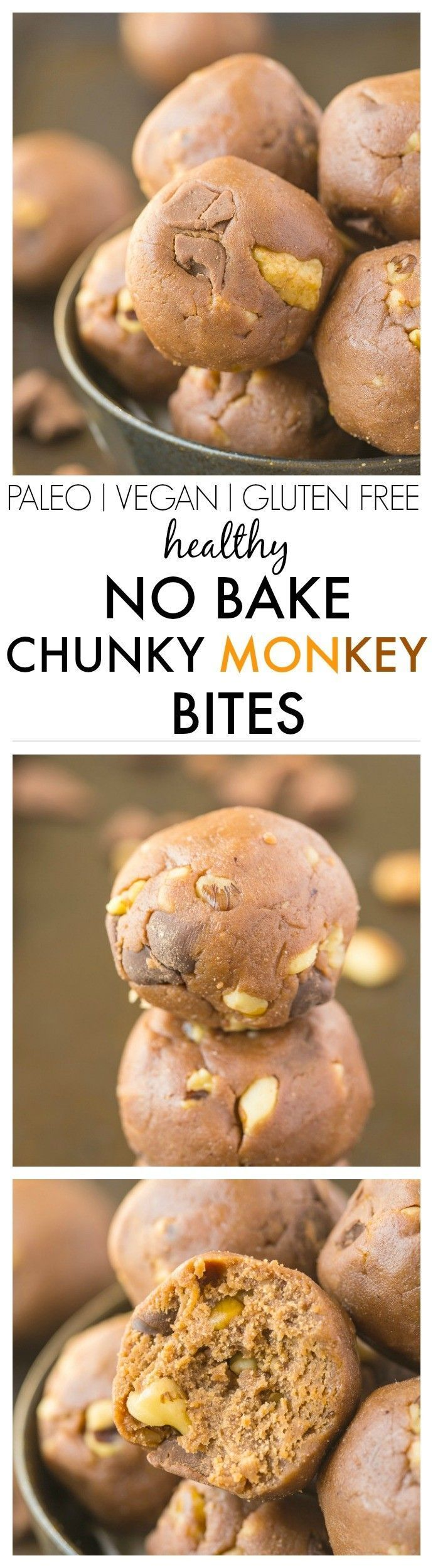 No Bake Chunky Monke No Bake Chunky Monkey Bites which are the perfect snack recipe which tastes anything but healthy- But they are! Ready in 5 minutes! vegan, gluten free, paleo, high protein recipe https://www.pinterest.com/pin/330733166376557316/