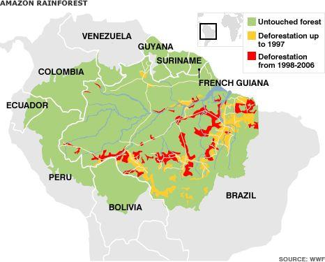 Map of the Amazon rainforest deforestation