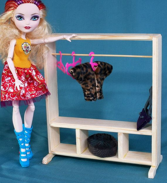 Dolls Clothes rack cloakroom dressing room dollhouse wooden Furniture 1:6 scale 12 inch dolls Barbie Momoko MH EAH roleplaying game + Gifts