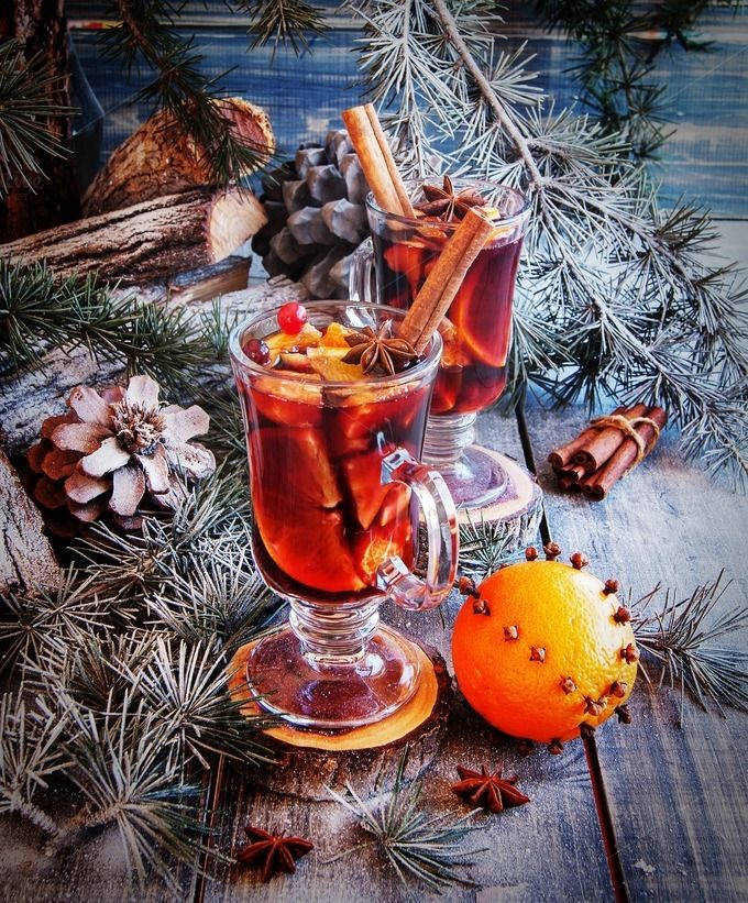 cup of hot mulled wine for Christmas by Wild Drago Shop on Creative Market