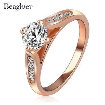 Beagloer Új Női gyűrű Rose aranybevonatú Az osztrák Crystal SWA Elements Esküvői ékszer Ring Ingyenes házhozszállítás Ri-HQ1001