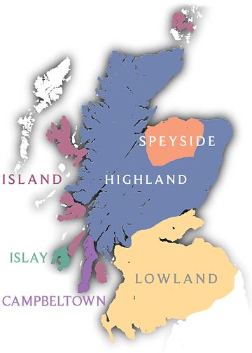 The Scotch Whisky regions of Scotland.