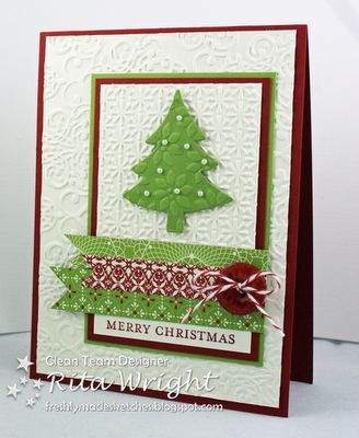 Rita's Creations: FMS: One Year!Christmas Cards, Embossing Folder, Cards Ideas, Cards Scrapbook, Cards Christmas, Scentsational Seasons, Paper Crafts, Christmas Trees, Merry Christmas